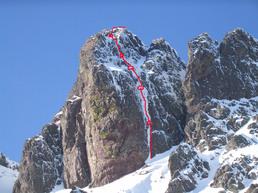 ouverture d'une voie en glace sur le Stranciacone