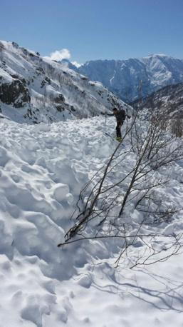 Grosse avalanche dans le massif du Monte D'oro